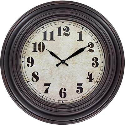 45Min 20 Inches Retro Round Large Wall Clocks, Silent Non Ticking Battery Operated Movement Easy to Read Wall Clock with Arabic Numerals