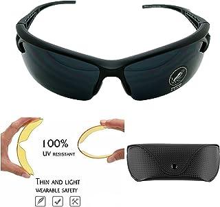Gafas de Sol Profesionales con 3 Lentes intercambiables Fibra de Carbono para Ciclismo UV400 Estuche y Bolsa 3068ng