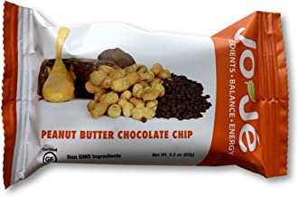 JoJe´ Bars - 12 Bars, 1 Case - Peanut Butter Chocolate Chip - Gluten Free, GMO Free Energy Bar - All Natural, Organic Ingredients