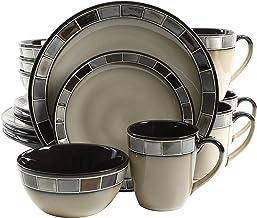 مجموعة أواني الطعام بيلا 114338.16R كاسا غريس 16 قطعة من شركة جيبسون إليت باللون الكريمي والرمادي