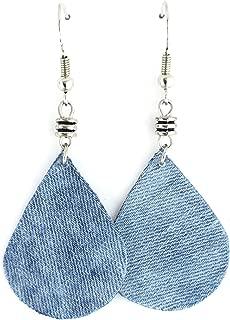 J.Leaf Studio- Handmade Blue Denim Teardrop/Waterdrop Metal Bead Dangle Earring Casual Street Style Jewelry Fashion Handmade Accessory Refashion Upcycle Fabric Jewelry-2 Inches Long with Ear Wire