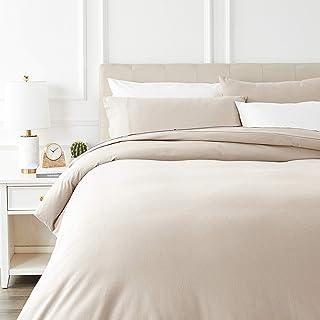 AmazonBasics - Juego de cama de franela con funda nórdica - 230 x 220 cm/50 x 80 cm x 2, Beige