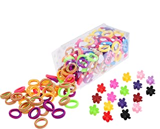 Kare & Kind 200 Hair Band Ties and 20 Mini Hair Claw Clip Pins- Assorted Colors - Cotton/Polyblend Material - Different Designs and Styles - For Girls, Toddlers, Babies, Infants - Ideal Gift