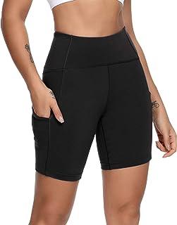 "QUEENIEKE Women 6"" Inseam Power Flex High Waist 3-Pocket Running Shorts Workout Fitness(S, Midnight Black)"