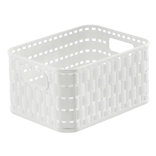 SUNDIS 1667002 Panier Aspect Rotin avec Poignées, Plastique, Blanc, A6