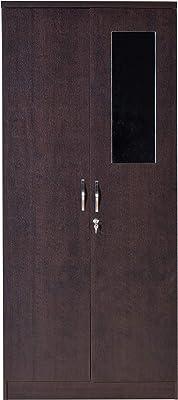 DeckUp Versa 2-Door Engineered Wood Wardrobe with Mirror (Dark Wenge, Matte Finish)