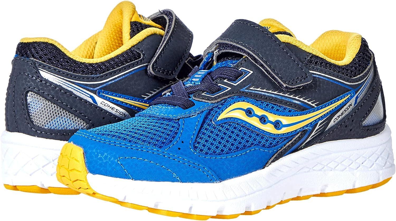 Saucony Cohesion 14 Alternative Closure Running Shoe, Blue/Yellow, 1.5 Wide US Unisex Big_Kid