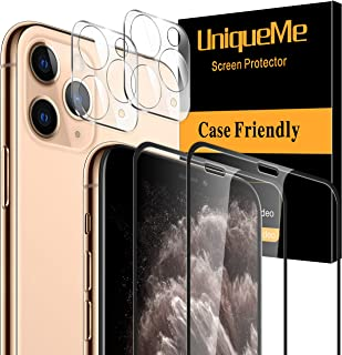 [4 Pack] UniqueMe 2 Pack Screen Protector Compatible For iPhone 11 Pro (5.8 inch) and 2 Pack Camera Lens Protector Tempere...
