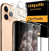 """[2+2 ] UniqueMe Tempered Glass Compatible with iPhone 11 Pro 5.8"""" 2 Pack Screen Protector and 2 Pack Camera Lens Protector..."""