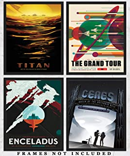 NASA Poster Space Tourism Wall Art Prints: Unique Room Decor for Boys, Men, Girls & Women - Set of Four (8x10) Unframed Pictures - Great Gift Idea for Space and NASA Fans Under $20!