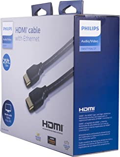 Philips   4K High-Speed HDMI Ethernet Cable 25ft (7.6m)   Supports 4K Ultra HD, Full 1080P HDTV, Ethernet & ARC (Audio Return Channel)   Au Premium Gold-Plated Connectors   Black   SWV9243A/27