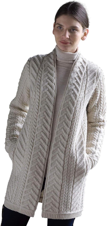 Aran Crafts Ladies Traditional Irish 100% Soft Merino Wool Edge to Edge Knit Sweater Coat