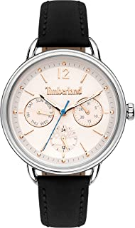 Timberland Nahant Women's Analogue Quartz Watch with White Dial and Black Leather Strap - TBL.15646MYS-01
