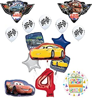 """Disney Pixar Cars 3"""" 4th Birthday Party Supplies and Balloon Decorations"""