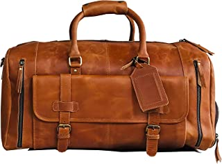 24 Inch Genuine Leather Duffel | Travel Overnight Weekend Leather Bag | Sports Gym Duffel for Men (brown)