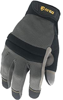 Mechanic Work Gloves-KAYGO KG125M,Black,Heavy duty,Improved dexterity,Excellent Grip,Ideal for working on cars and outdoor jobs