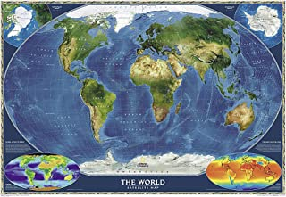 National Geographic: World Satellite Wall Map (43.5 x 30.5 inches) (National Geographic Reference Map)