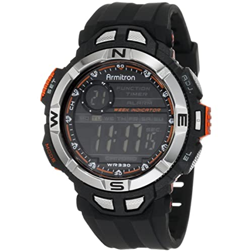 Armitron Sport Mens 408233ORG Chronograph Multi-Function Orange Accented Black Resin Watch