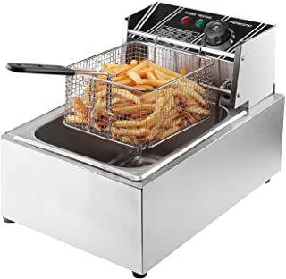 Flexzion Deep Fryer with Basket - 2500W 6 Liter Stainless Steel Electric Fryer Countertop Basket Scoop Fryer for Commercial Professional Restaurant Kitchen w/Adjustable Temperature
