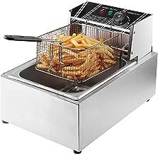 Flexzion Deep Fryer with Basket - 2500W 6 Liter Stainless Steel Electric Fryer Countertop Basket Scoop Fryer for Commercial Professional Restaurant Kitchen w/Adjustable Temperature