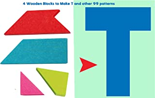 Toys of Wood Oxford Wooden Tangram Puzzle -Tangram T Puzzle 4 Pieces with 100 Solutions - Wooden Brain Teaser Puzzle for Kids and Adults
