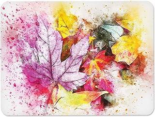 Decorita 10011501228 Renkli Yapraklar Cam Kesme Tahtası, 20cm x 30cm