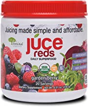 JUCE Reds Superfood: Garden Berry Flavor | Natural Energy Blend | Anti-Aging, Polyphenols, Antioxidants, Enzymes | Certified USDA Organic (Raspberry, Elderberry, Goji Berry, Beets) 20 servings