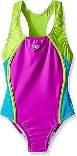 Girls' Swimsuit-Solid One Piece Open Back, Capri Breeze