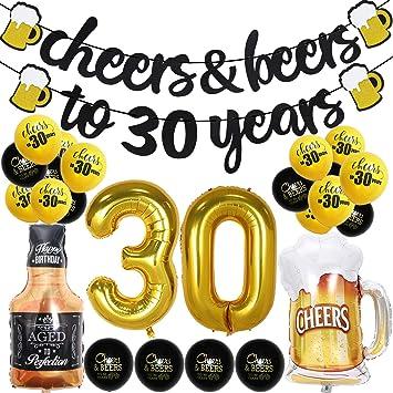 Joymee Glitzer Banner Cheers To 30 Years Für 30 Geburtstag Hochzeit Jubiläum Party Dekoration Schwarz Drogerie Körperpflege