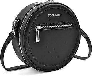 11dddf9684 Flora & Co - Paris Sac rond/Sac tambour/Sac tendance porté épaule ou  bandoulière - Simili cuir rigide strié avec détails argentés - 21 cm (L) x  21 cm (H) x ...