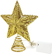 CVHOMEDECO. Golden Glittered 3D Tree Top Star with Warm White LED Lights and Timer for Christmas Ornaments and Holiday Sea...