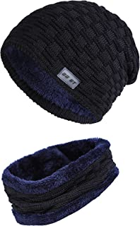 2-Pieces Winter Beanie Hat Scarf Set Fleece Lining Warm Knit Thick Knit Skull Cap for Mens & Womens