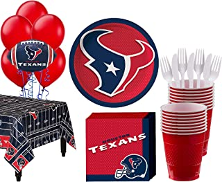 Party City Houston Texans Super Party Supplies for 18 Guests, Include Plates, Napkins, Table Cover, and Balloons