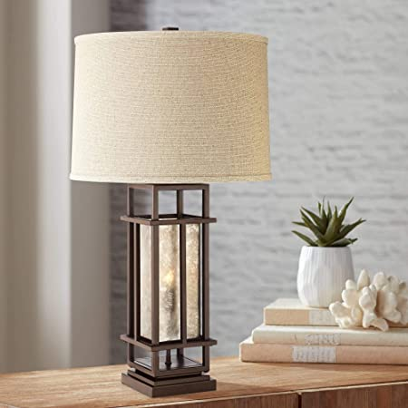 Matthew Modern Rustic Farmhouse Table Lamp with Nightlight LED Caged Brown Metal Oatmeal Fabric Drum Shade for Living Room Bedroom House Bedside Nightstand Home Office Family - Franklin Iron Works