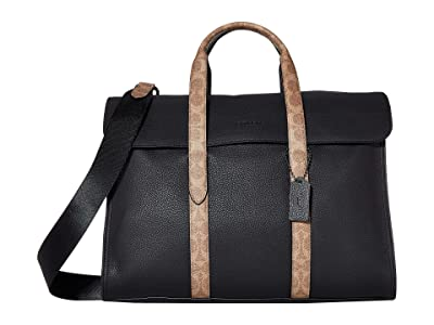 COACH Signature Metropolitan Portfolio (JI/Black/Khaki) Briefcase Bags