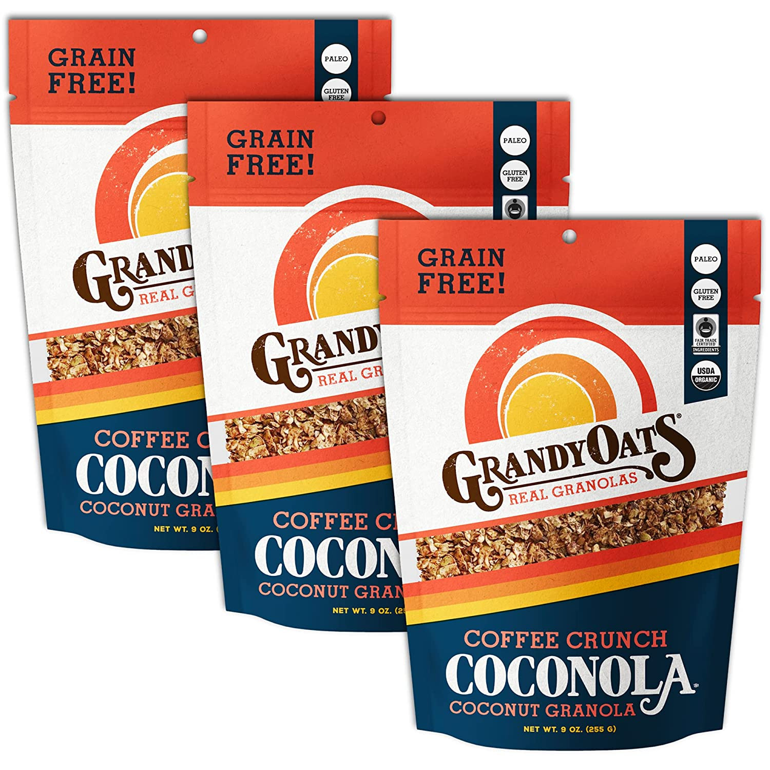 GrandyOats Coffee Crunch Coconola Gluten Certifie Credence Free Cheap mail order specialty store Granola -