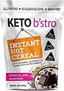 Keto B'stro - Instant Hot Cereal, Low Carb, Grain-Free Oatmeal Alternative, Coconut (Chocolate Almond, 10oz)