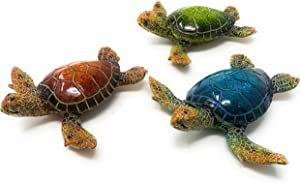 Globe Imports Sea Turtle Resin Figurines, Assorted Set of 3, Indoor Outdoor Decor, 5.5 Inches Wide X 5 Inches Long