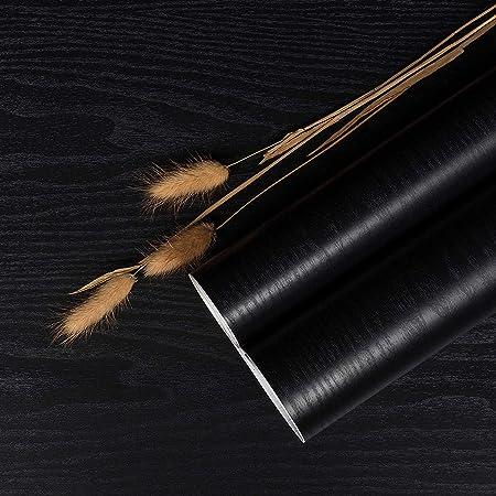 Black Wood Paper Grain Self Adhesive Wallpaper Waterproof Vinyl Wrap Film - Self-Adhesive Wallpaper Shelf Liner Drawer Liner (40 cm x 300 cm Black)