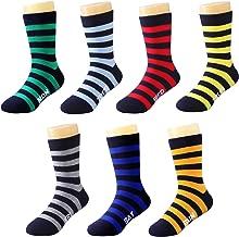 IMOZY Crew Socks for Boys- Stripe Days of the Week Christmas Socks- Dress & Trouser Socks- 6 Pack Boys' Novelty Cotton Socks