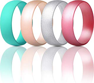 ThunderFit Silicone Wedding Ring for Men & Women - 4 Rings / 1 Ring Rubber Engagement Bands