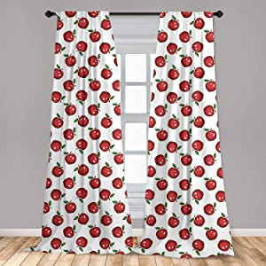Ambesonne Apple Window Curtain, Hand Drawn Cartoon Apples Organic Juicy Delicious Fruit Healthy Eating, Lightweight Decorative Panels Set of 2 with Rod Pocket, 56 x 84, Dark Coral