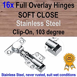 16xDoor Kitchen Cabinet Cupboard Soft Close Full Overlay Hinges -Stainless Steel