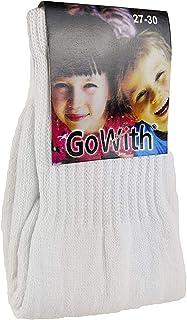 Go With Collection, | 1101 | 12 pares de calcetines deportivos blancos unisex para niños | Calcetines de tenis blancos | Calcetines infantiles