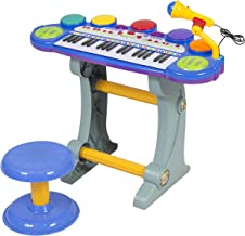 Best Choice Products 37-Key Kids Electronic Musical Instrument Piano Toy Keyboard w/ Record and Playback, Microphone, Synthesizer, Stool - Blue