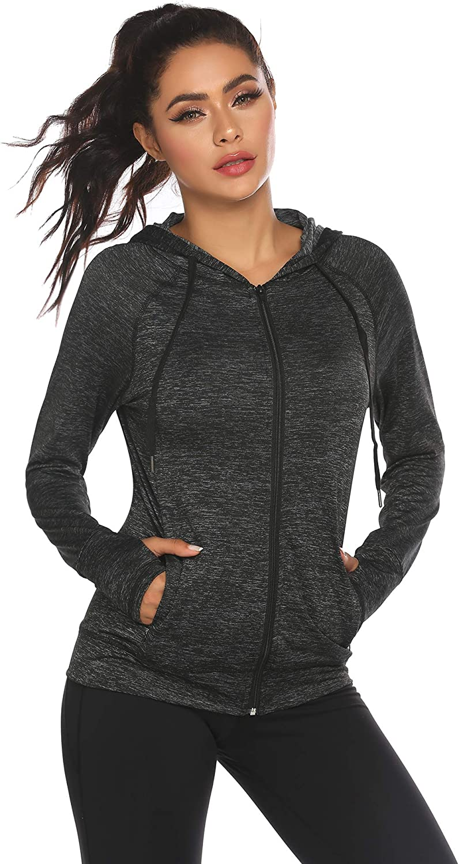 ELESOL Full Zip Hoodie Women Long Sleeve Hooded Sweatshirt Thumbhole Lightweight Workout Jacket with Pockets S-XXL