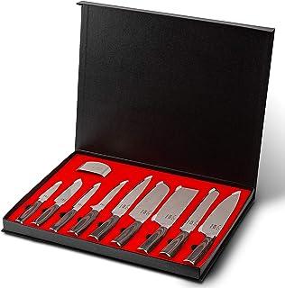 Koi Artisan Ensemble de couteaux professionnels – Boîte de couteaux de cuisine gravés au laser avec protège-doigts