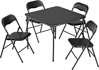 Kealive Folding Table and Chairs 5 Piece Padded Seat, Square Card Table and Chairs Set with Locking Legs, Multipurpose Dining Game Table for Puzzles Bridge Portable and Easy for Compact Storage, Black