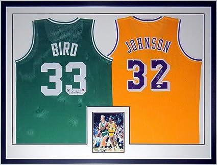 Larry Bird Signed Celtics Jersey & Magic Johnson Signed Lakers ...