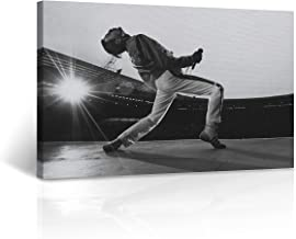 Freddie Mercury Canvas Print in Concert Picture Black and White Wall Art Legend Queen Motivational Wall Art Home Decor Stretched - Ready to Hang -%100 Handmade in The USA - 8x12